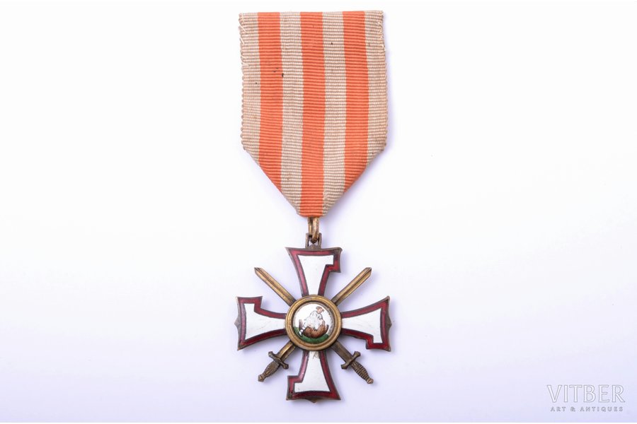 the Order of the Bearslayer, № 696, 3rd class, silver, enamel, Latvia, 20-30ies of 20th cent., enamel defects