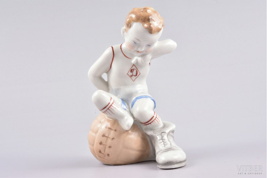 figurine, Football player sitting on the ball (small edition), porcelain, Riga (Latvia), USSR, Riga porcelain factory, the 50ies of 20th cent., 11.6 cm