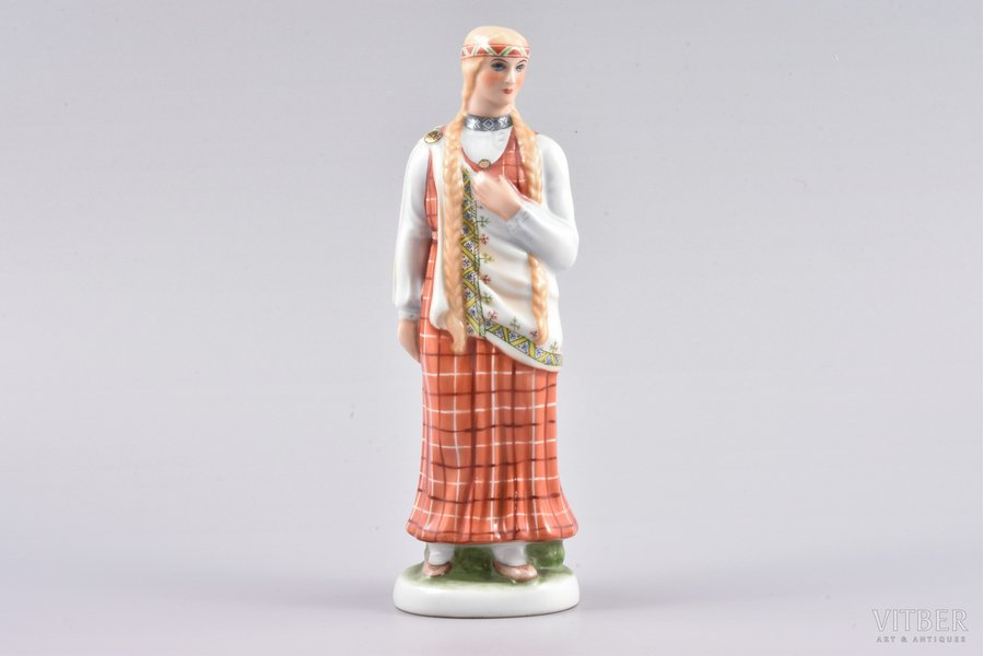 figurine, a Girl in traditional costume, porcelain, Riga (Latvia), Riga Ceramics Factory, signed painter's work, handpainted by Mirdza Januza, 1940, 18 cm, first grade