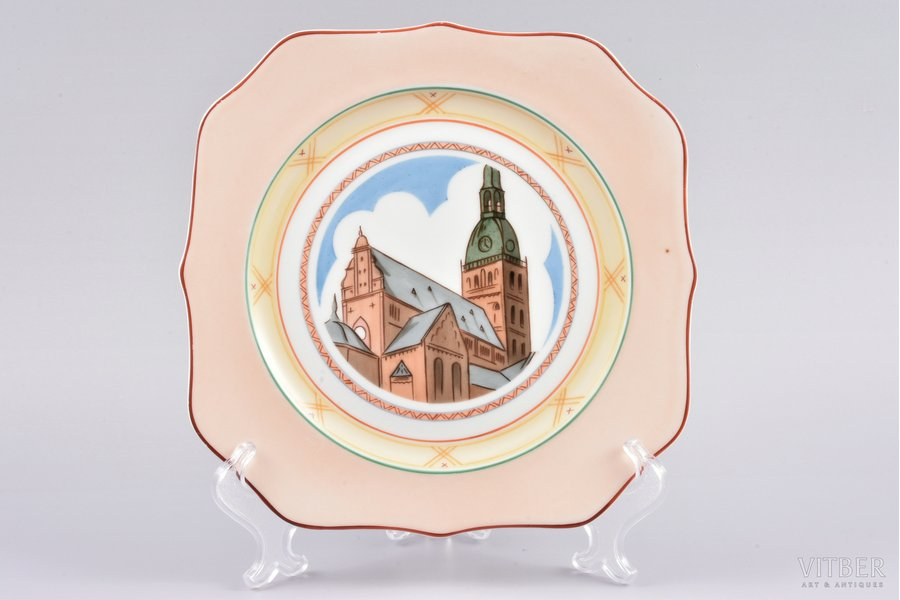 decorative plate, The Dome Cathedral, porcelain, sculpture's work, J.K. Jessen manufactory, Riga (Latvia), the 30ties of 20th cent., 20x20 cm, first grade