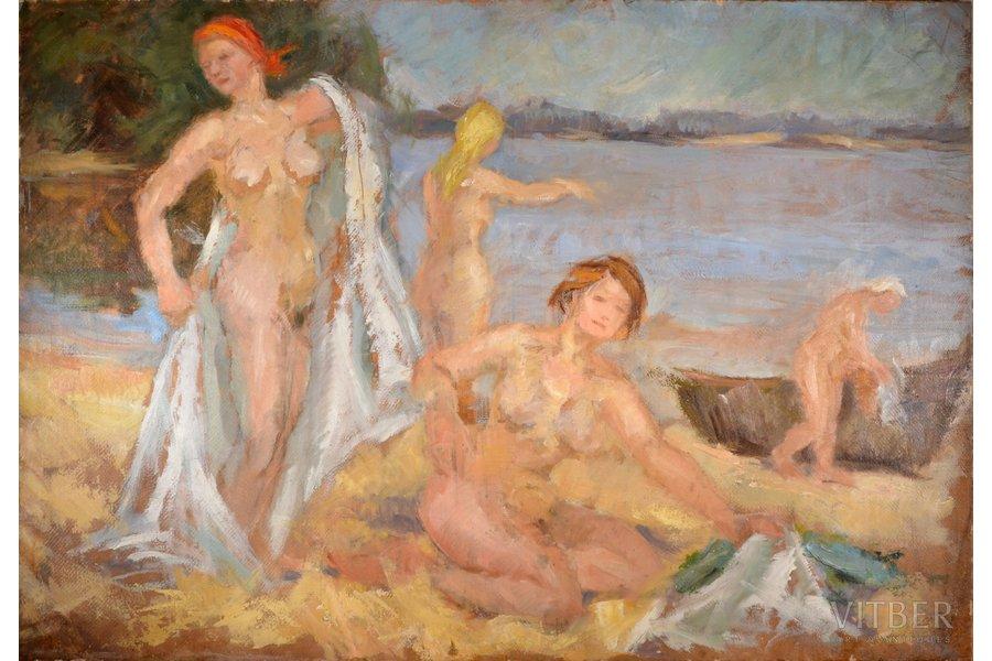 "Romane Erika (1920-2002), ""Swimmers"", ~1950, canvas, oil, 71 x 103 cm"
