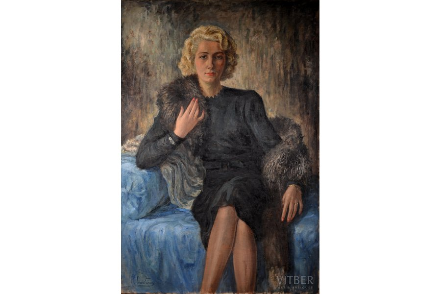 """Ebersteins Harijs (1906-1964), """"The lady with the fox boa"""", ~1935, canvas, oil, 106 x 74 cm"""