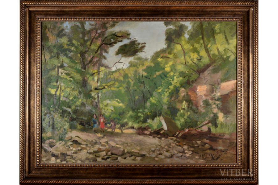 "Ubans Konrads  (1893-1981), ""Pērse"", 1952, carton, oil, 54 x 74 cm"