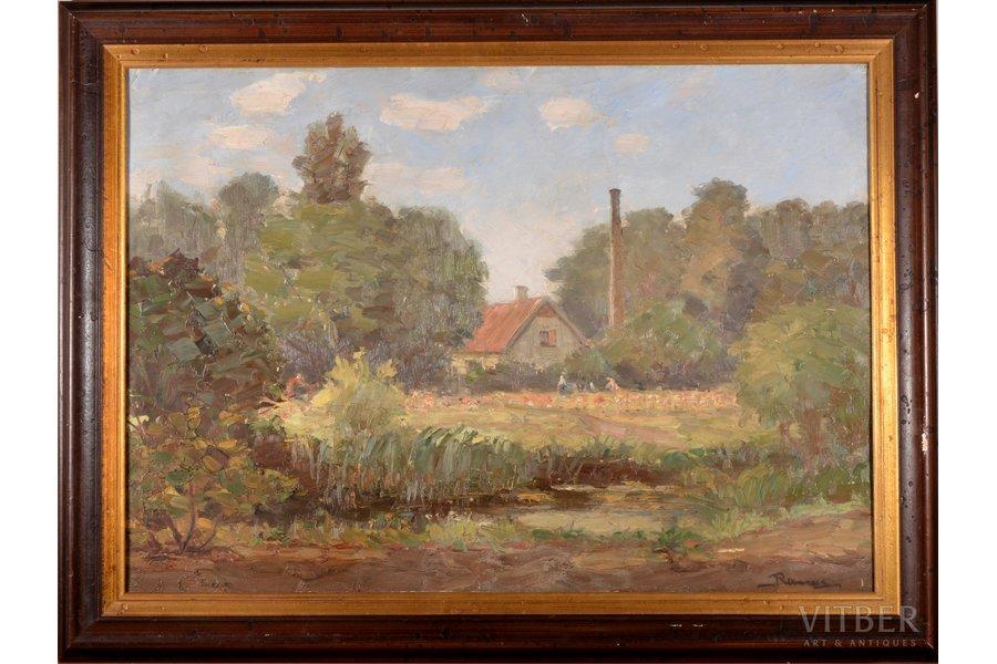 """Rikmanis Janis (1901-1968), """"Summer"""", ~1950, carton, oil, 50 x 71 cm"""