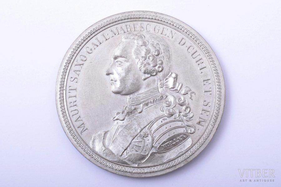 table medal, Courland, Maurice of Saxony, Latvia, Ø 55.2 mm, tin