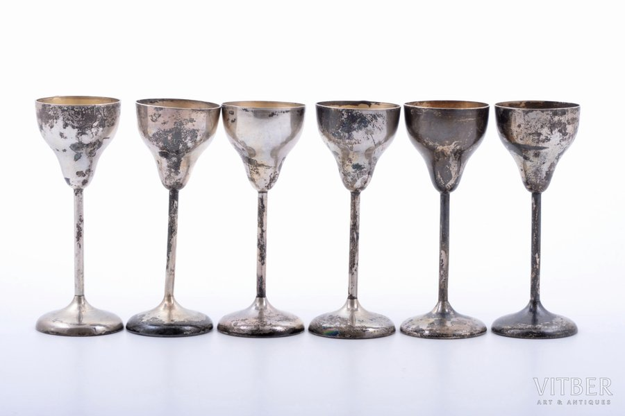 set of 6 small glasses, silver...