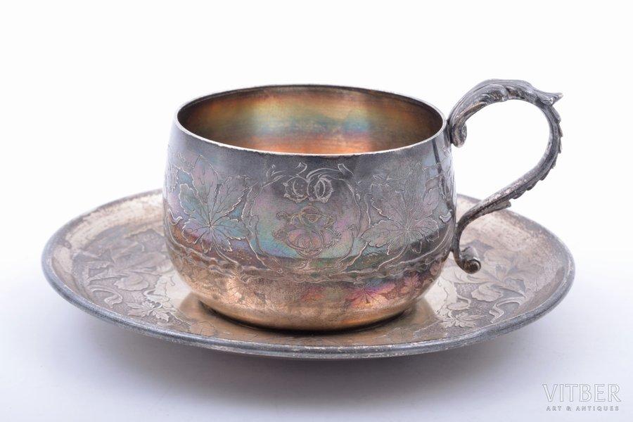 "tea pair, silver, 950 standart, ""Chestnuts"", 148 g, France, h (cup) 5 cm, Ø (saucer) 11.6 cm"