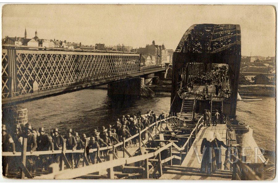 photography, Riga, blown up railway bridge, marching Germans, Latvia, 8.8 x 13.8 cm