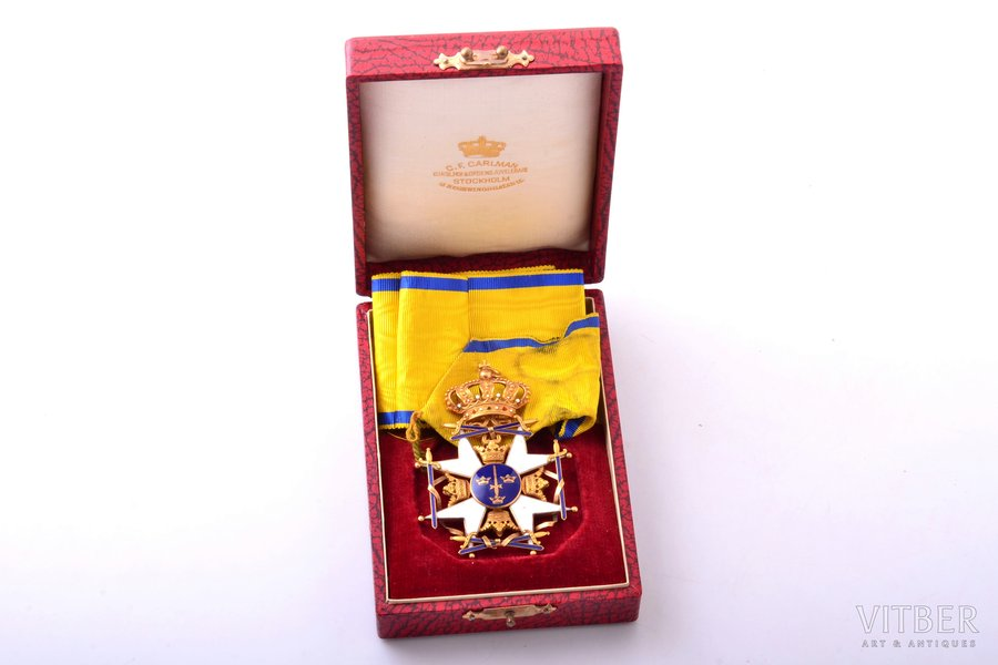 The Royal Order of the Sword, gold, enamel, Sweden, 77.2 x 55.3 mm, 31.30 g, in a box