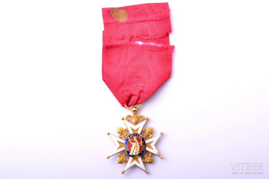 Royal and Military Order of Saint Louis, gold, enamel, 18 k standart, France, 44.5 x 37.2 mm, 13.90 g, enamel chips