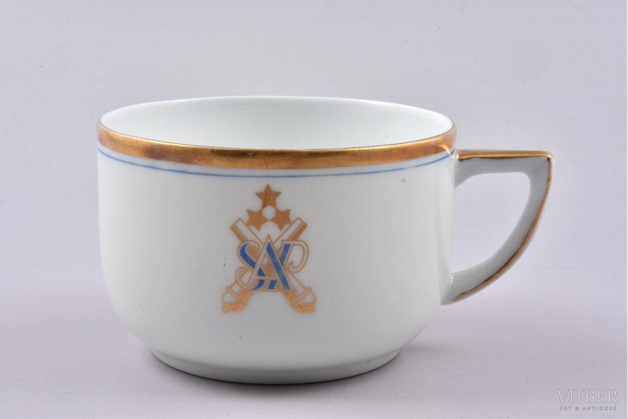 small cup, Heavy artillery division, h 5.4 cm, porcelain, M.S. Kuznetsov manufactory, Latvia, 1934-1936