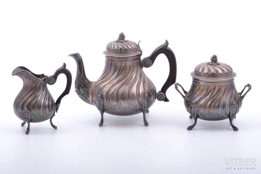 service of 3 items (small size): coffeepot, sugar-bowl, cream jug, silver, 950 standart, 613.95 g, (coffeepot) 323.50 g + (sugar-bowl) 207.15 g + (cream jug) 83.30g, France, 14 / 10.8 / 10 cm