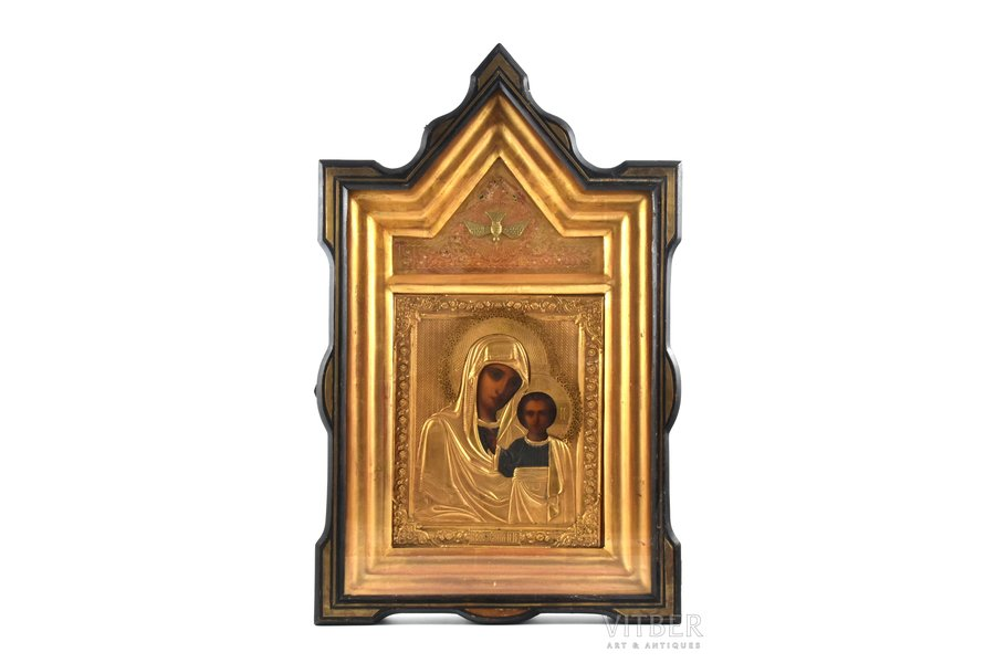 icon, Kazan icon of the Mother of God, in icon case, board, painting, brass, Russia, the end of the 19th century, 27 x 22.5 x 2 cm, icon case 59 x 37 x 7.7 cm