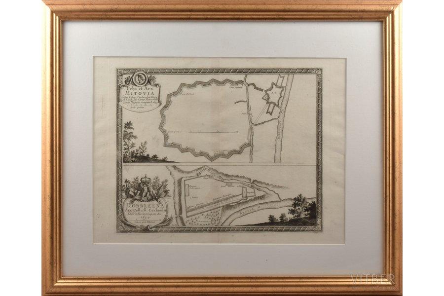 map, Mitava (Urbs et Arx Mitovia Sedes Celsis), Latvia, 1659, 25 x 31.4 cm, in a frame