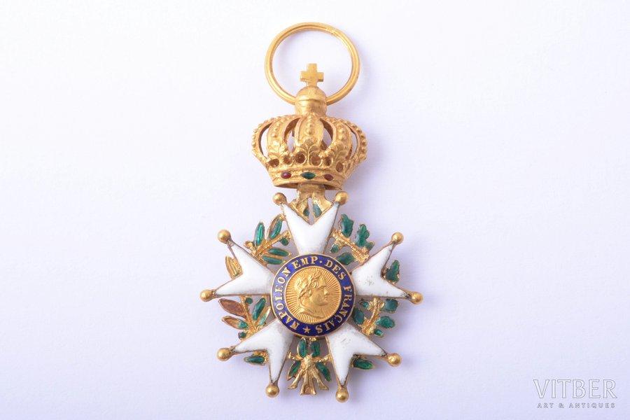 miniature badge, National Order of the Legion of Honour, gold, enamel, 18 k standart, France, 39 x 25.8 mm, 5.01 g, enamel defects