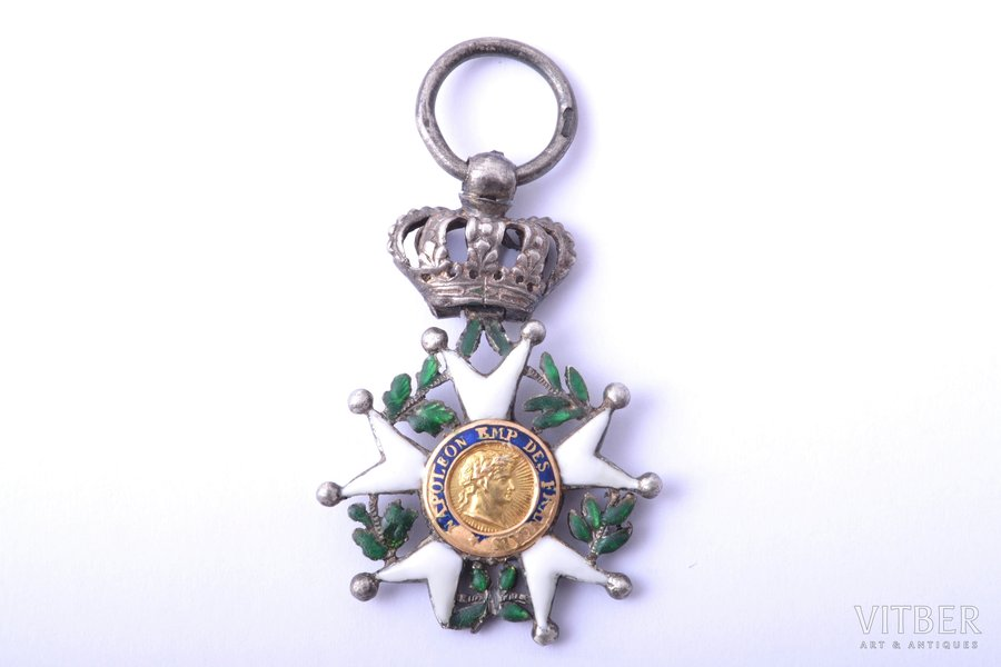 miniature badge, National Order of the Legion of Honour, silver, gold, enamel, France, 36 x 25.6 mm, 6.49 g, enamel defects
