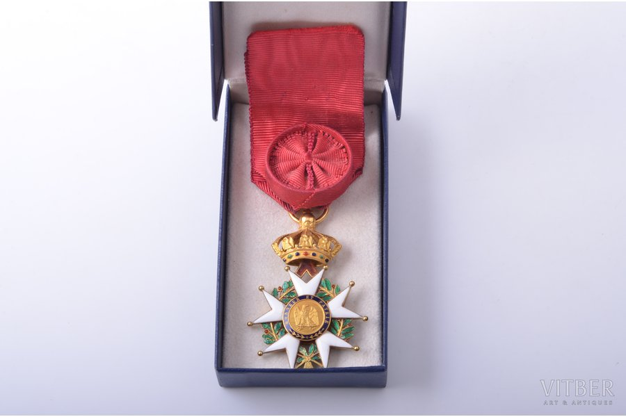 National Order of the Legion of Honour, officier's, gold, enamel, 18 k standart, France, 1848-1870, 61.2 x 41 mm, 19.26 g, hairline cracks of enamel