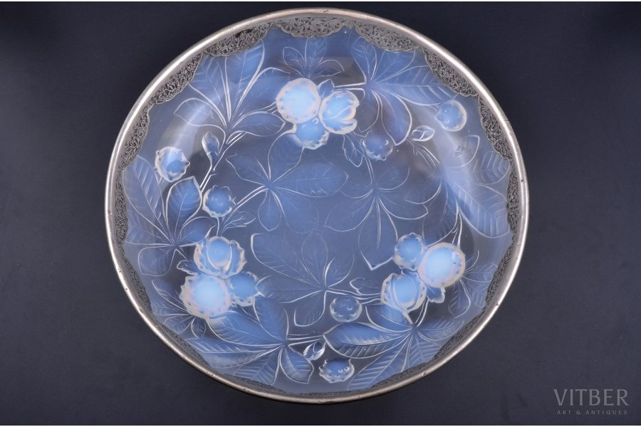 """fruit dish, """"Chestnuts"""", Verlys France, edge - metal, France, the 30ties of 20th cent., Ø 30 cm"""