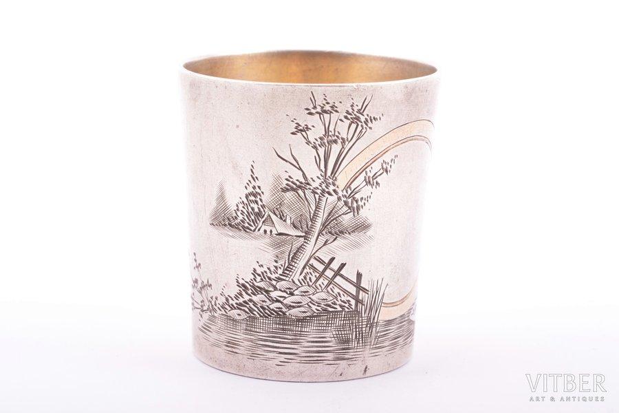 beaker, silver, 84 standart, engraving, gilding, 1896-1907, 37.15 g, Moscow, Russia, h 4.2 cm
