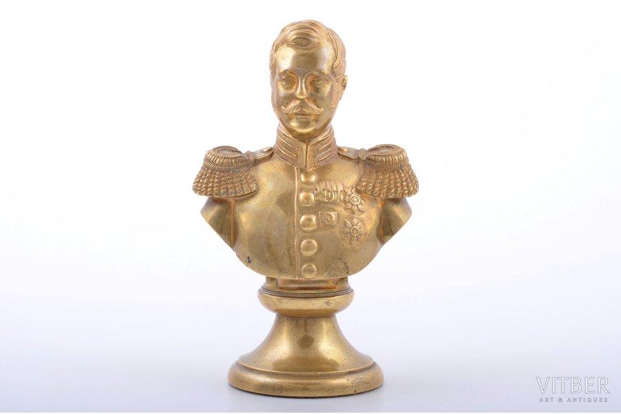 bust, Alexei Mikhailovich, bronze, h 14 cm, weight 762.50 g., Russia, the 19th cent., Saint Petersburg
