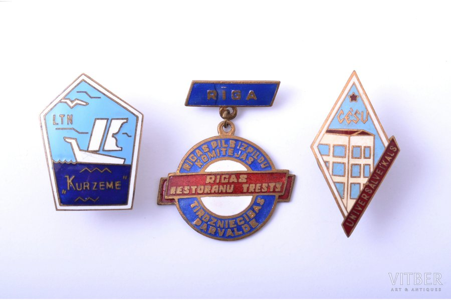 """komplekts, 3 tirdzniecības nozares nozīmes: Rīgas restorānu trests, Cēsu universālveikals, LTN """"Kurzeme"""", Latvija, PSRS"""