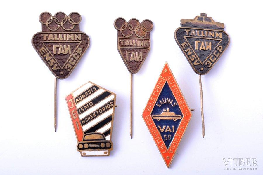 5 nozīmju komplekts, VAI (Valsts Autoinspekcija), PSRS, Lietuva, Igaunija