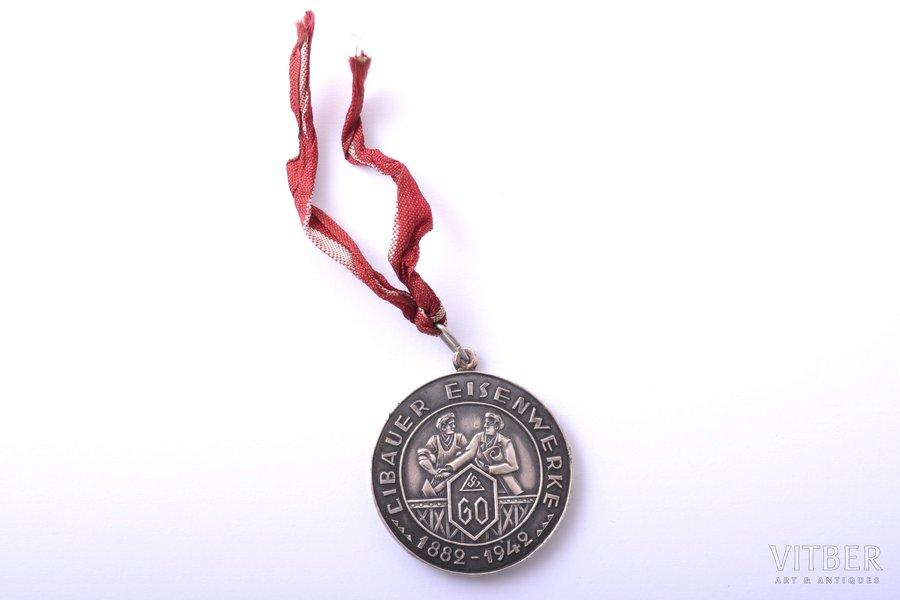 "medal, Libauer Eisenwerke 1882-1942 (60th Anniversary of ""Liepājas Metalurgs""), awarded to Jānis Šmēle, silver, Latvia, 1942, 41 x 36.4 mm, 26.30 g"
