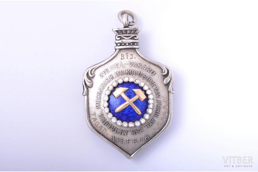 badge, Liepaja shipyard (with golden overlay), awarded to J. Šmēle, silver, gold, enamel, 875 standart, Latvia, 1936, 48.8 x 30.5 mm, 30.21 g