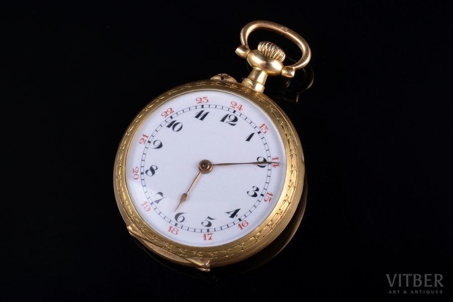 kabatas pulkstenis, Francija, zelts, 18 K prove, 19.86 g, 3.7 x 2.9 cm, 29 mm