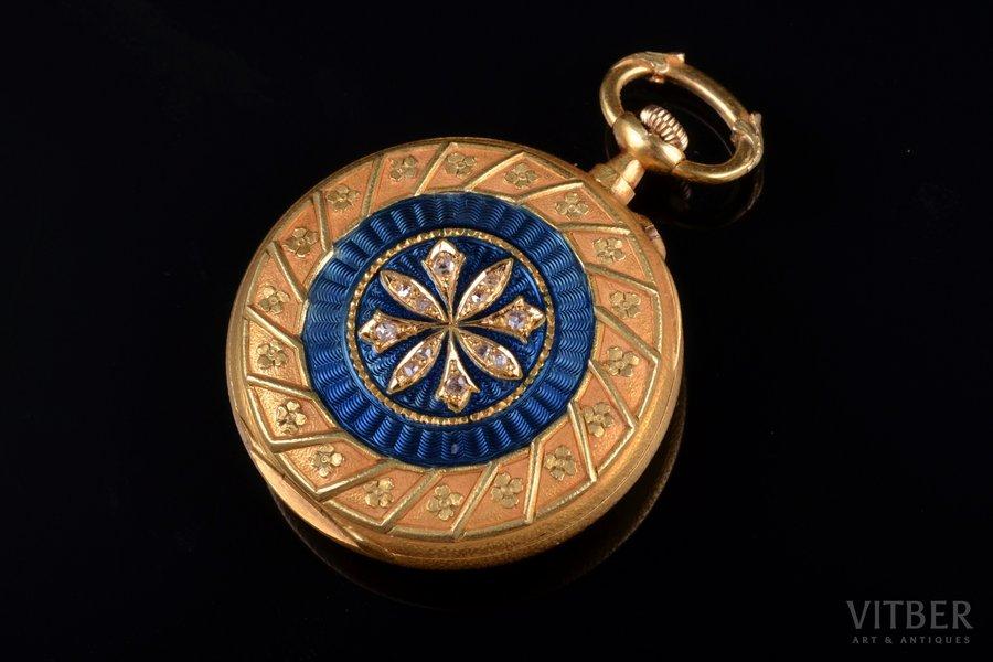 pocket watch, gold, enamel, diamonds, 18 K standart, 19.22 g, 3.5 x 2.8 cm, 28 mm