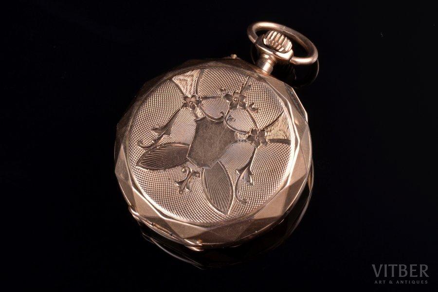 pocket watch, gold, 585, 14 K standart, 17.73 g, 3.5 x 2.9 cm, 29 mm