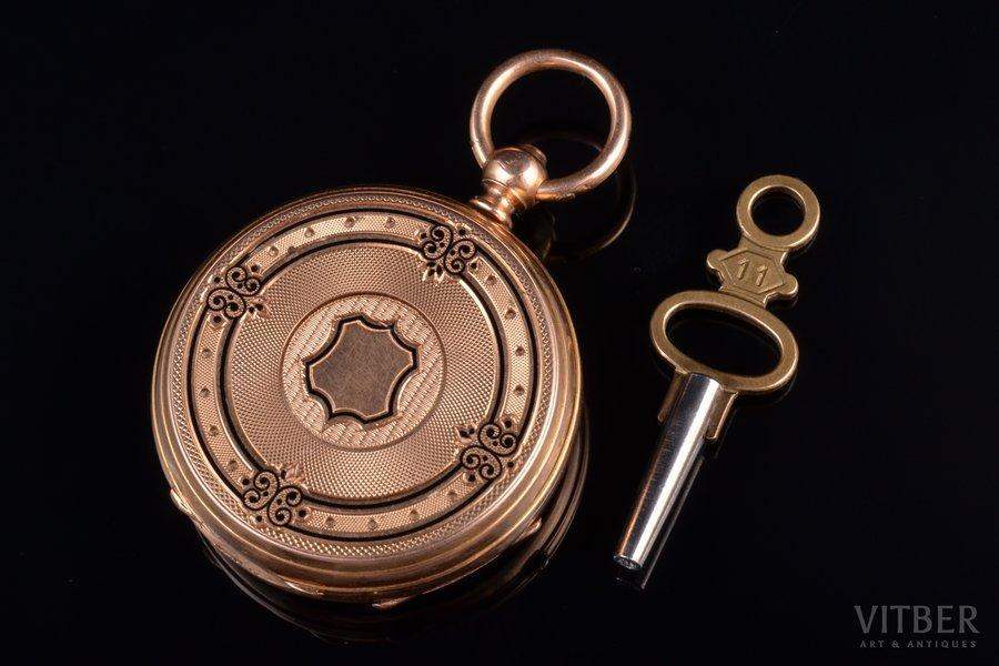 pocket watch, with key, France, gold, enamel, 18 K standart, 26.42 g, 3.9 x 3.2 cm, 32 mm