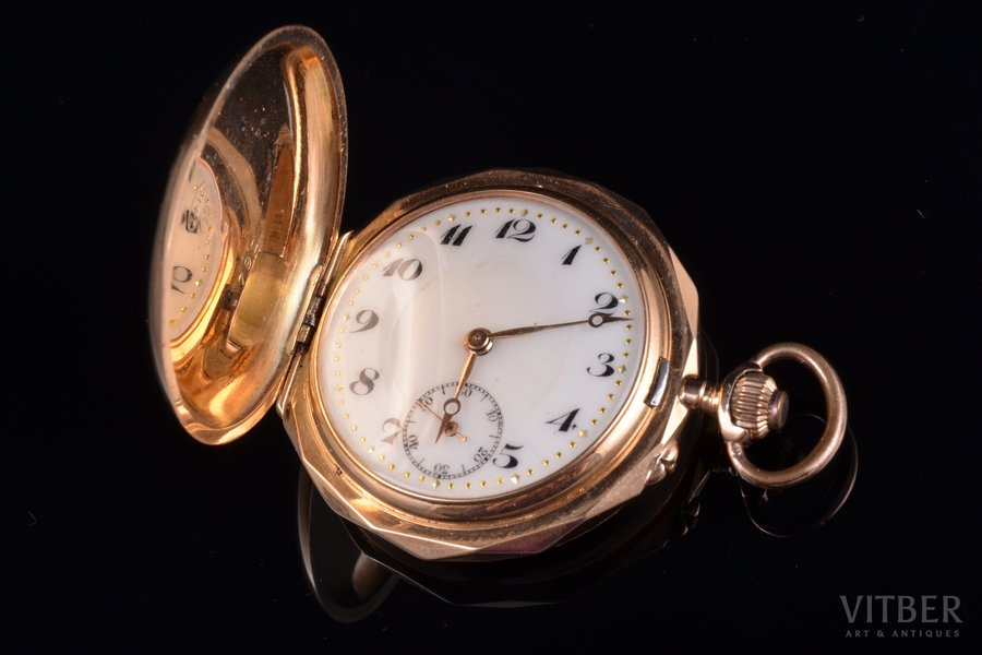 kabatas pulkstenis, Šveice, zelts, 14 K prove, 32.79 g, 4.3 x 3.6 cm, 36 mm