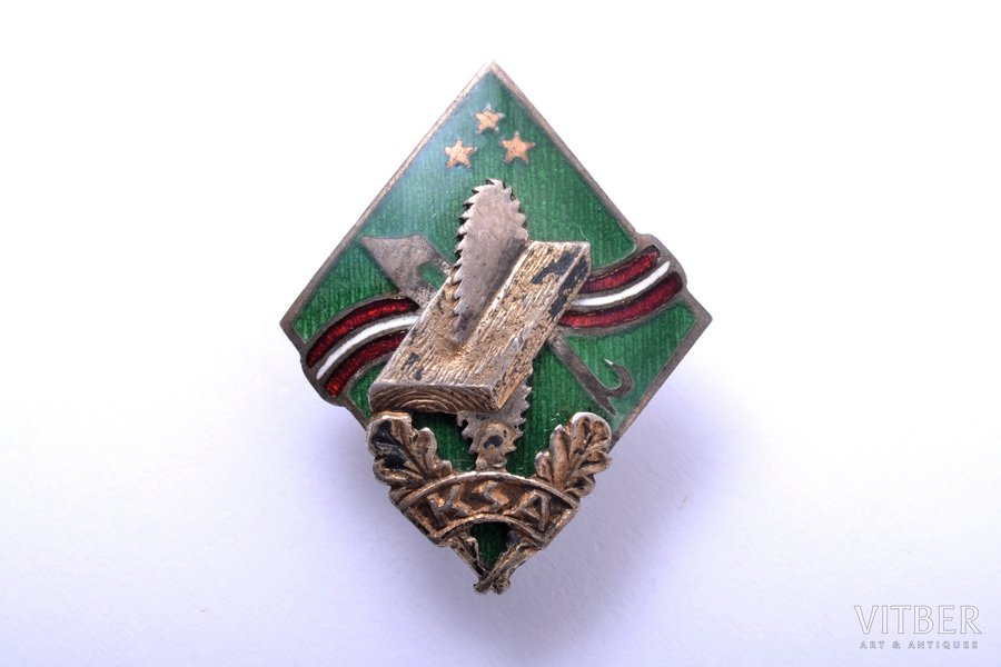 badge, KSA - Woodworkers Association, silver, enamel, 875 standart, Latvia, 20-30ies of 20th cent., 25.5 x 20.4 mm, 3.98 g, workshop of O. Pērkons, A. Kocejevs