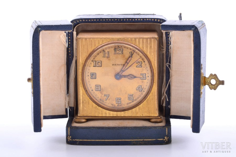 """table clock, """"Zenith"""", France, 210.40 g, 5.6 x 5.7 x 3.5 cm, 42 mm, in a case, working well"""