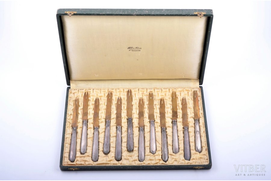 set of 12 snail forks, silver, 950 standart, metal, total weight of items 313.90g, France, 16.8 cm, in a box