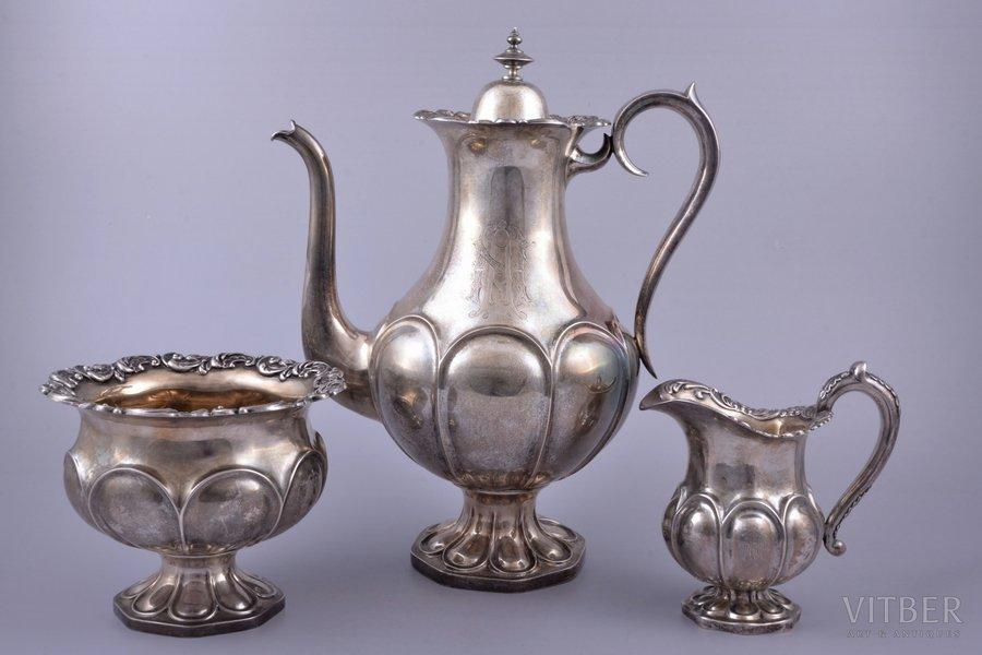service of 3 items: coffeepot, sugar-bowl, cream jug, silver, 830 standart, gilding, 1230.40 g, (coffeepot) 735.30 g + (sugar-bowl) 318.15 g + (cream jug) 176.95g, Finland, 28.3 / 12.8 / 11.5 cm