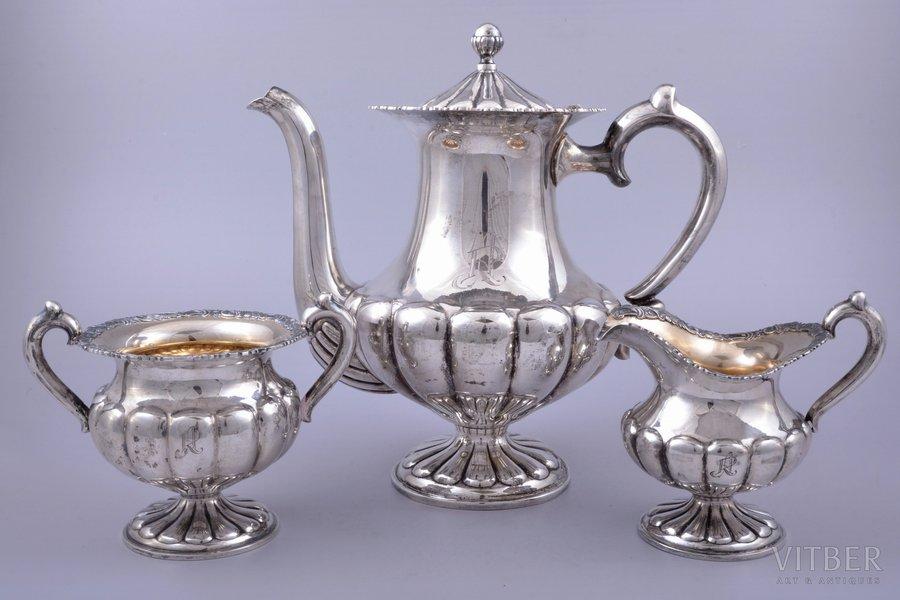 service of 3 items: coffeepot, sugar-bowl, cream jug, silver, 830 standart, gilding, 1253.45 g, (coffeepot) 835.80 g + (sugar-bowl) 234.75 g + (cream jug) 182.90g, Finland, 23.7 / 11.7 / 11.4 cm