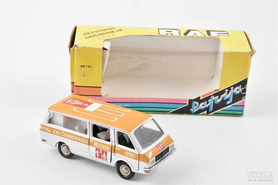 """car model, RAF 2203, """"Olympic games 1980 in Moscow"""", conversion, metal, USSR"""