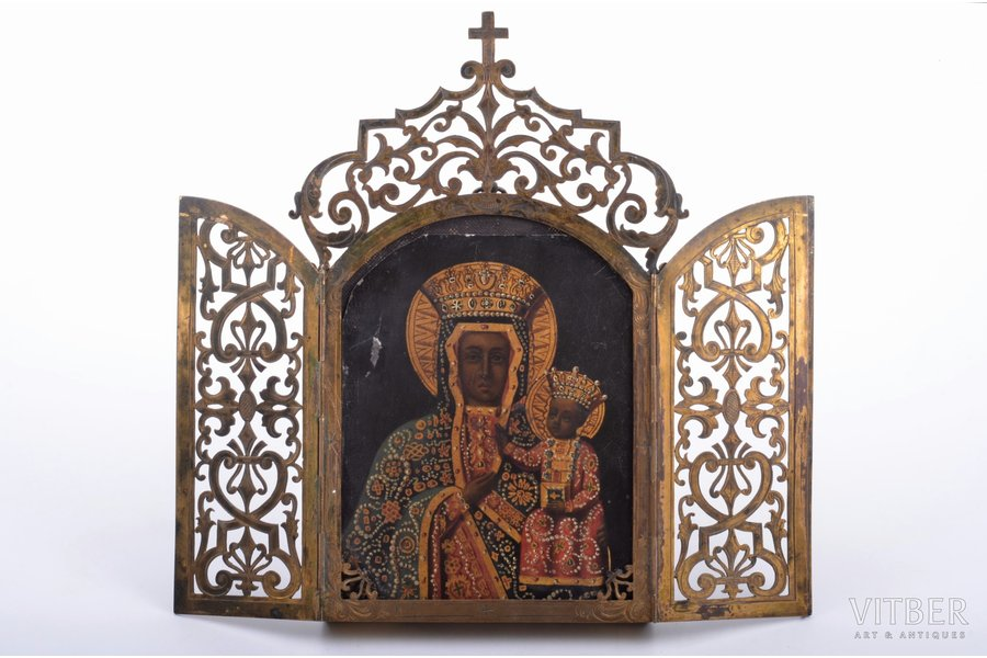 icon, Mother of God, guilding, painted on zinc, France, 21.2 x 11.8 x 1.9 cm