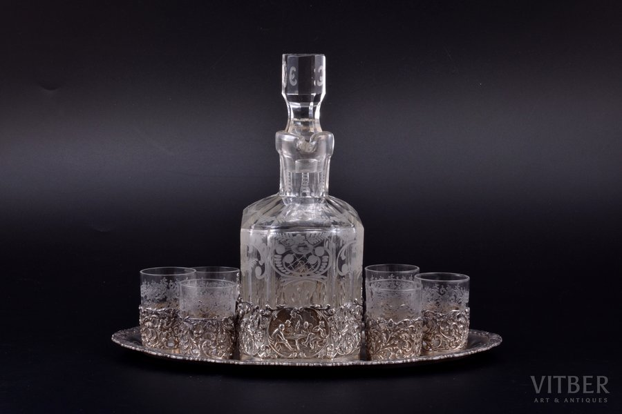 set of carafe and 6 beakers with tray, silver, 830 standart, glass, total weight of silver 400.90g, Finland, tray 24.7 x 16.4 cm, carafe (with cork) h 19 cm, chip on the carafe cork