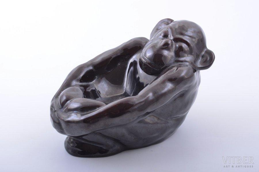 "figurine, ashtray, ""Monkey"", ceramics, Riga (Latvia), M.S. Kuznetsov manufactory, the 20-30ties of 20th cent., h 11.8 cm"
