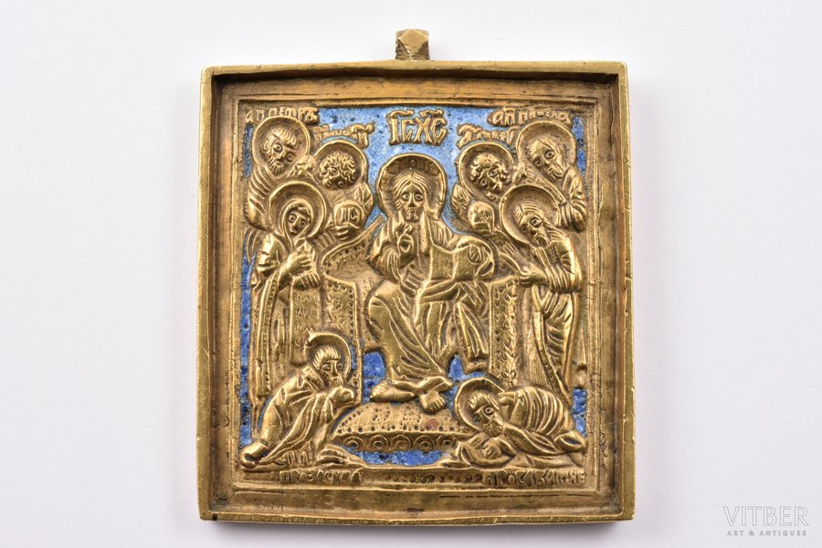 icon, Christ the Pantocrator on the Throne, copper alloy, 2-color enamel, Russia, the border of the 19th and the 20th centuries, 5.9 x 5.1 x 0.6 cm, 92.40 g.