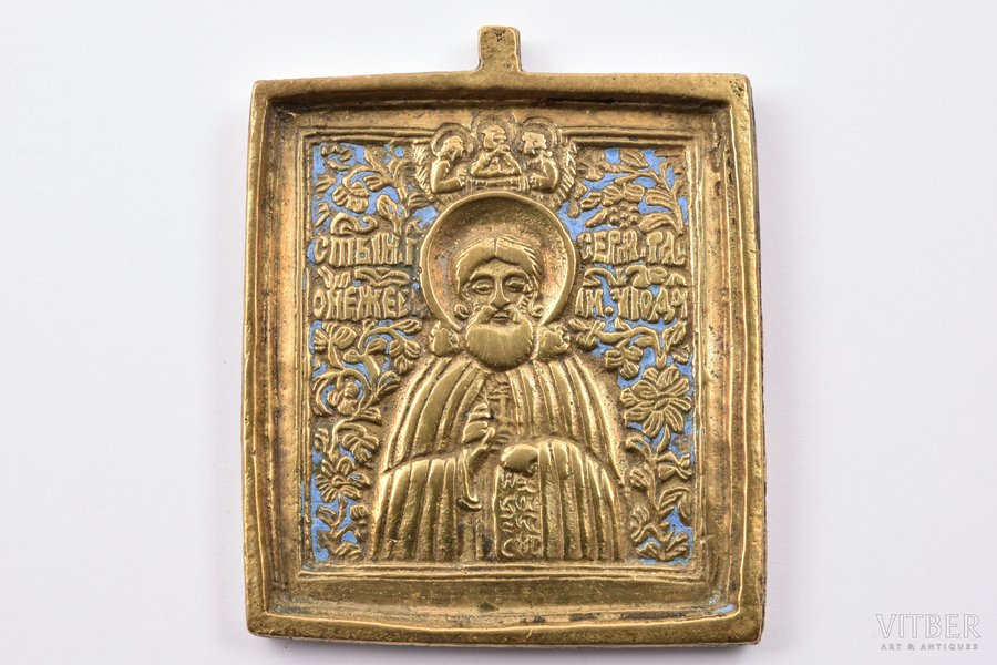 icon, Saint Sergius of Radonezh, copper alloy, 1-color enamel, Russia, the border of the 19th and the 20th centuries, 6.1 x 5.1 x 0.5 cm, 68.50 g.