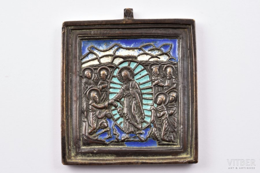 icon, The Resurrection of Christ. Descent into Hades, copper alloy, 3-color enamel, Russia, the border of the 19th and the 20th centuries, 6.2 x 5.4 x 0.6 cm, 94.80 g.
