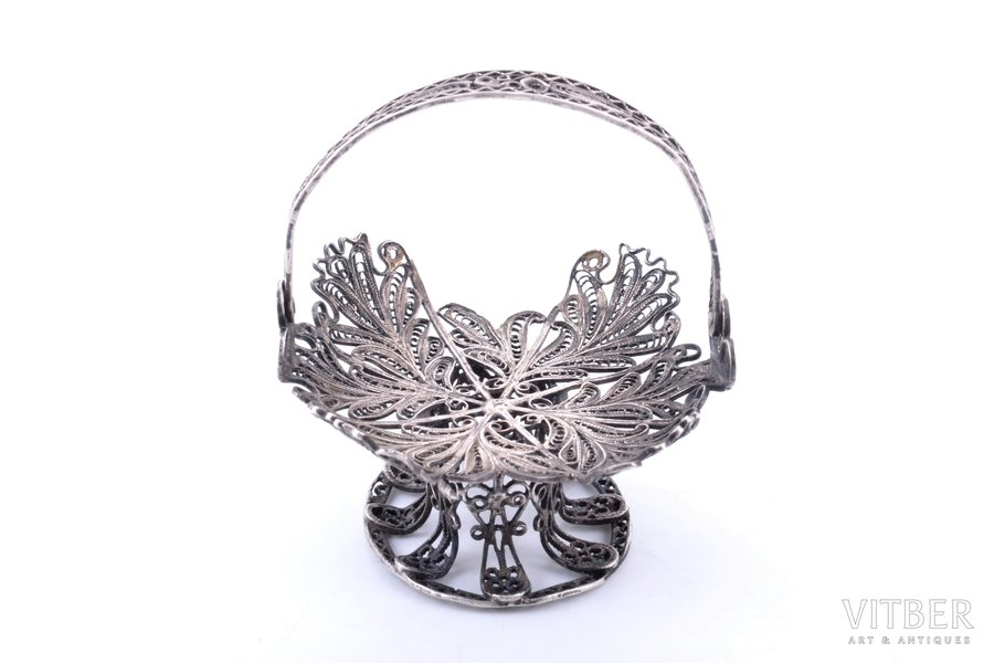 basket, silver, 84 standart, filigree, 1874, 30.88 g, Russia, 5.9 x 6.2 cm, h (with handle) 6.7 cm