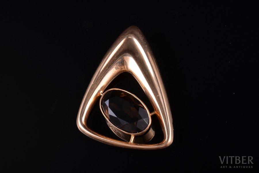 a pendant, gold, 585 standart, 3.87 g., the item's dimensions 3.7 x 2.8 cm, quarz, Finland