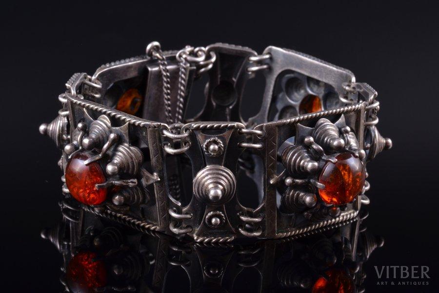 a bracelet, silver, 925 standart, 70.37 g., amber, Kalupe, Canada, bracelet lenghth 19.8 cm