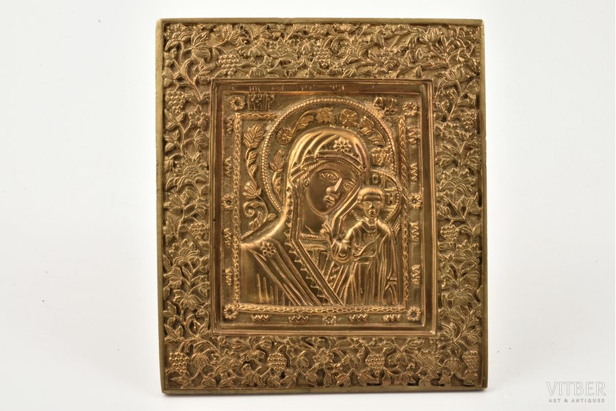 icon, Our Lady of Kazan, copper alloy, Russia, the border of the 19th and the 20th centuries, 11 x 9.8 x 0.5 cm, 340.35 g., new mounts
