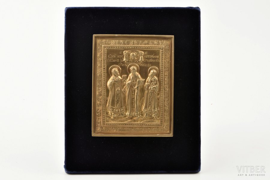 icon, The Three Hierarchs (Basil the Great, Gregory the Theologian and John Chrysostom), copper alloy, Russia, the 19th cent., 11.8 x 9.5 x 0.5 cm, new mounts